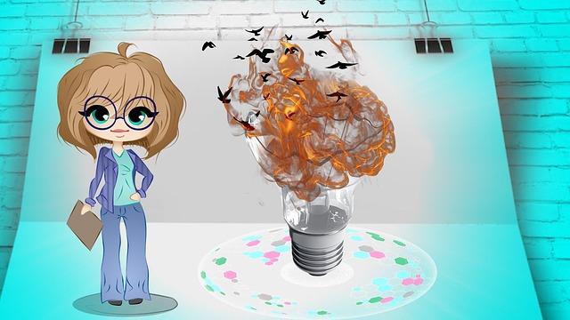 Manažérka, žiarovka, oheň, kreslené